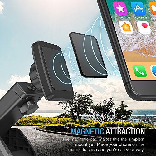 Maxboost Dashboard Mount, Universal Durahold Magnetic Car Mount w/Extended Adjustable Arm Perfect on Windshield Car Mount Holder For Phones, iPhone X 8 7 6s 6 Plus, Galaxy s9, s8, Note 8,LG,Pixel 2 by Maxboost (Image #1)