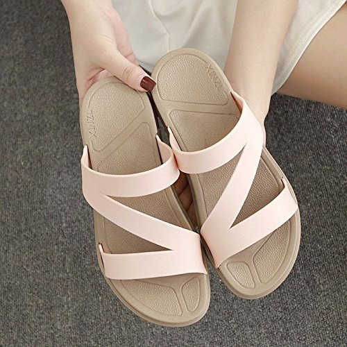 slippers Fashion LIUXINDA beach skid version XZ shoes outdoor new Pink dragging thick bottom proof slippers summer British lady Korean fashion CCgnqU