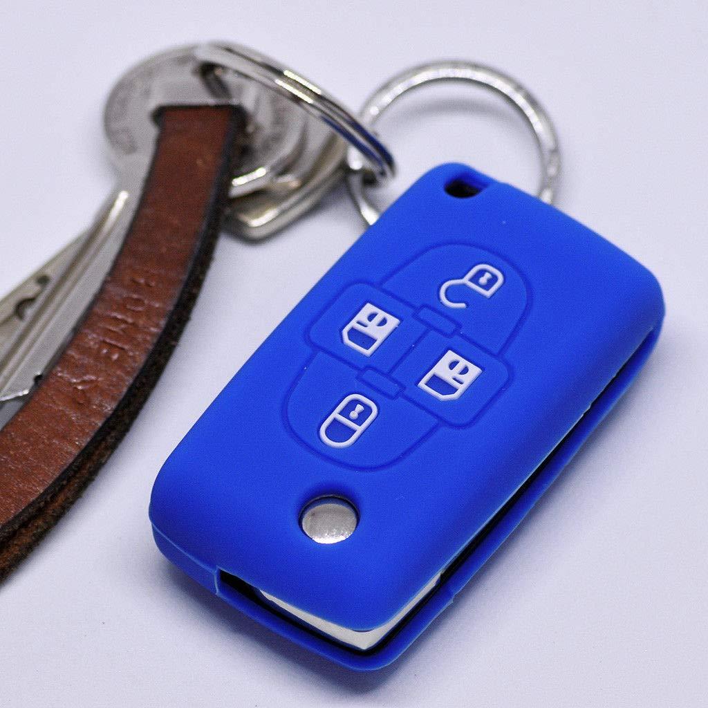 Soft Case Capot de Protection clé de Voiture Ranch Peugeot 807 1007 Shell clé SOCIO C4 Citroen C8 Couvercle clé/Bleu