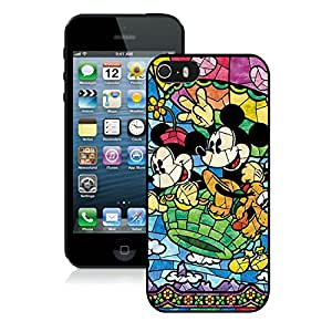 Popular Sell Design Stained Glass Mickey And Minnie Unique Custom Black Case For iPhone 5S Case
