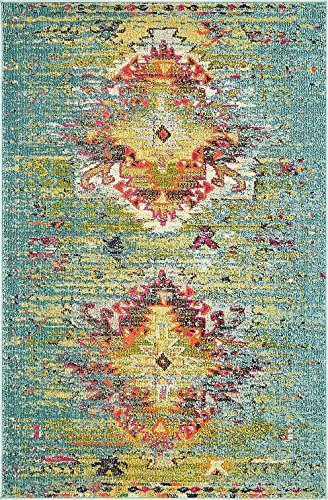A2Z Rug Modern Contemporary & Traditional Design Rugs, Turquoise 4' x 6'-Feet Milano Collection Area rug
