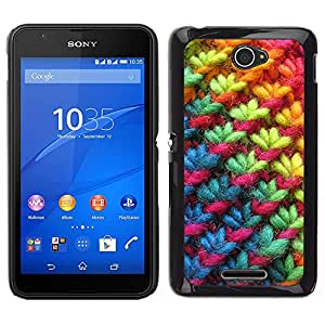 LECELL--Funda protectora / Cubierta / Piel For Sony Xperia E4 -- Rainbow Pink Tela Invierno --