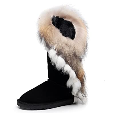 f72318d9f3e1 rismart Women High-End Suede Half Snow Boots Thermal Wool Lining Dressy Winter  Boots Black