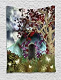 Forest Tapestry Decor by Ambesonne, Mystical Magical Tree Anime Moon Digital Art Wooden Door in the Fairy Garden, Wall Hanging for Bedroom Living Room Dorm, 60 W x 80 L Inches, Blue Red and Brown