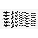 Halloween Decor Scary Black Bats Decal Set of 34 Stickers Monster (Black)
