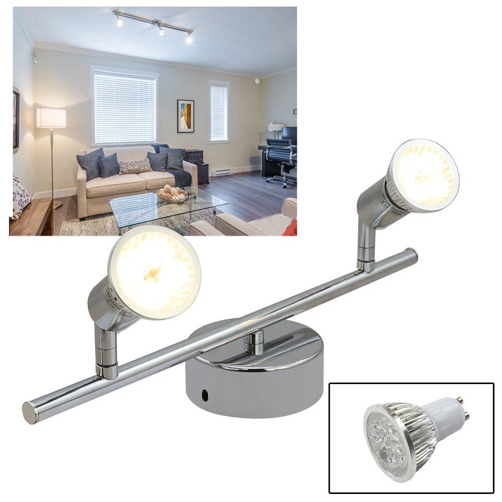 HJ 8W LED Schwenkbar Deckenspot,2-flammig GU10 Silber LED Schwenkbar Deckenstrahler,Modern Deckenlampe, led wand deckenleuchte für Küche/Kunstwerk/Esszimmer/ Schlafzimmer/ Garderobe/ Flur/Kinderzimmer/ Bar/Studio,Warmweiß 3000k,230V,640lm, A++ [Energieklas