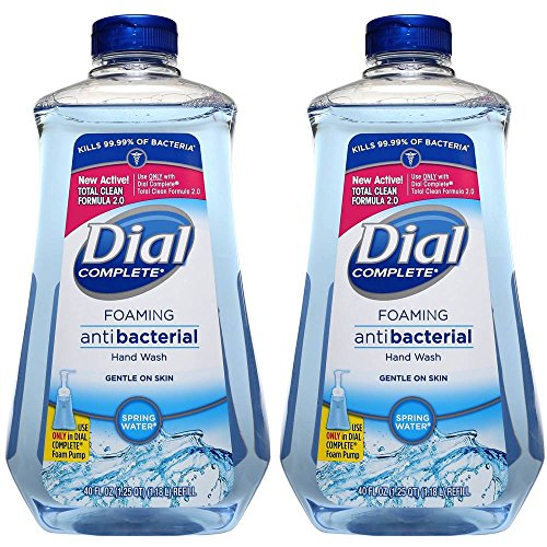 Dial Foaming Soap Refill, Complete Anti-bacteria Spring Water Hand Wash, 40 Oz (Bundle of 2 Bottle)