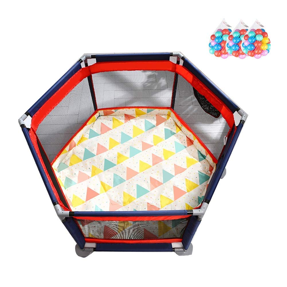 Q.AWB子供のベビーサークルベビーベビーサークルの安全プレイ6パネルゲームフェンスベビーサークルマットボール屋内屋外、高さ65cm(カラー:A、サイズ:140x65cm) 140x65cm A B07V44LGQF
