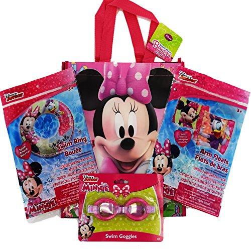 Disney Minnie MouseTote Bag, Googles, Swimming Ring, Floaties Swimming Pool Bundle