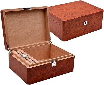 Gran Capacidad Caja De Puros Madera De Teca Grano Madera De Cedro Español Caja Hidratante Humidificador Hueco Caja Humidor Marrón (Color : Brown): Amazon.es: Coche y moto