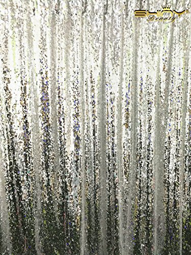 ShinyBeauty Reversible-Sequin Curtain Backdrop-Silver-20FTx10FT,Mermaid Sequin Fabirc Backdrops For Photography,Unique/Shimmer Party or Wedding Backdrop by ShinyBeauty