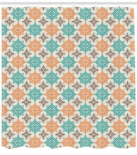 Abaysto Native American Bohemian Style Ornate Diamond Shape Pattern Design Geometric Turquoise Orange Brown Bathroom Decor Shower Curtain Sets with Hooks Polyester Fabric Great Gift