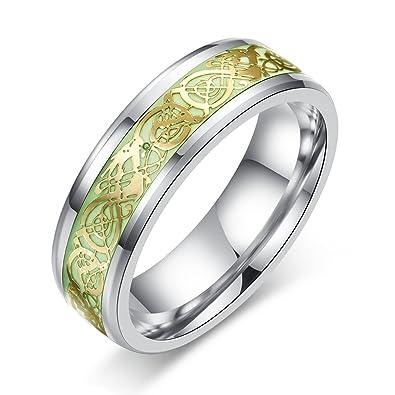 Fashionlife2018 Celtic Dragon Luminous Rings Glow In The Dark Ring