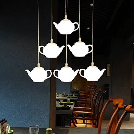 Charming IJ INJUICY Modern Nordic Teapot LED Chandelier Acrylic Tea Cup Pendant  Light Lamps Fixtures For Restaurant