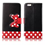 Yakamoz Lovely Cute Black Red Bow Bowkot Polka Dot Leather Flip Wallet Stand Case with Card Slots for Apple iPhone 6 Plus 5.5