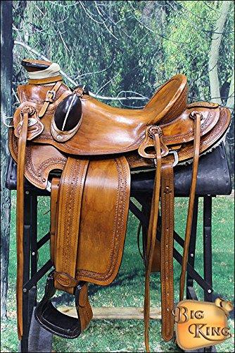 Hilason Big King Western Wade Ranch Roping Saddle Hand Tooled Border
