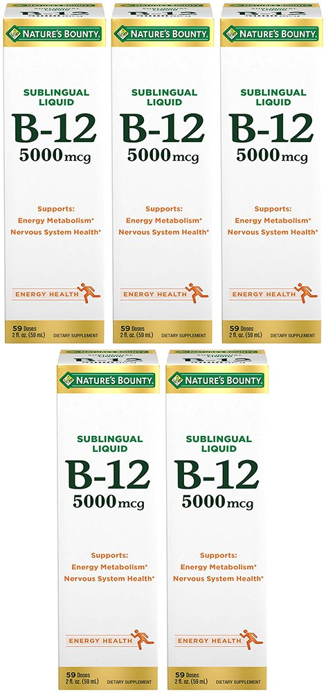B-12 5000 mcg Sublingual Liquid Energy Health, 2 Fl Oz (5 Bottles)