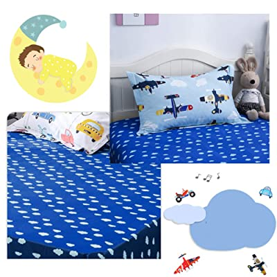 "mixinni Luxury Ultra Soft and Comfortable Fitted Sheet Cotton Plane Pattern for Kids Bed Sheet 15"" Deep Pocket Twin Size: Home & Kitchen"