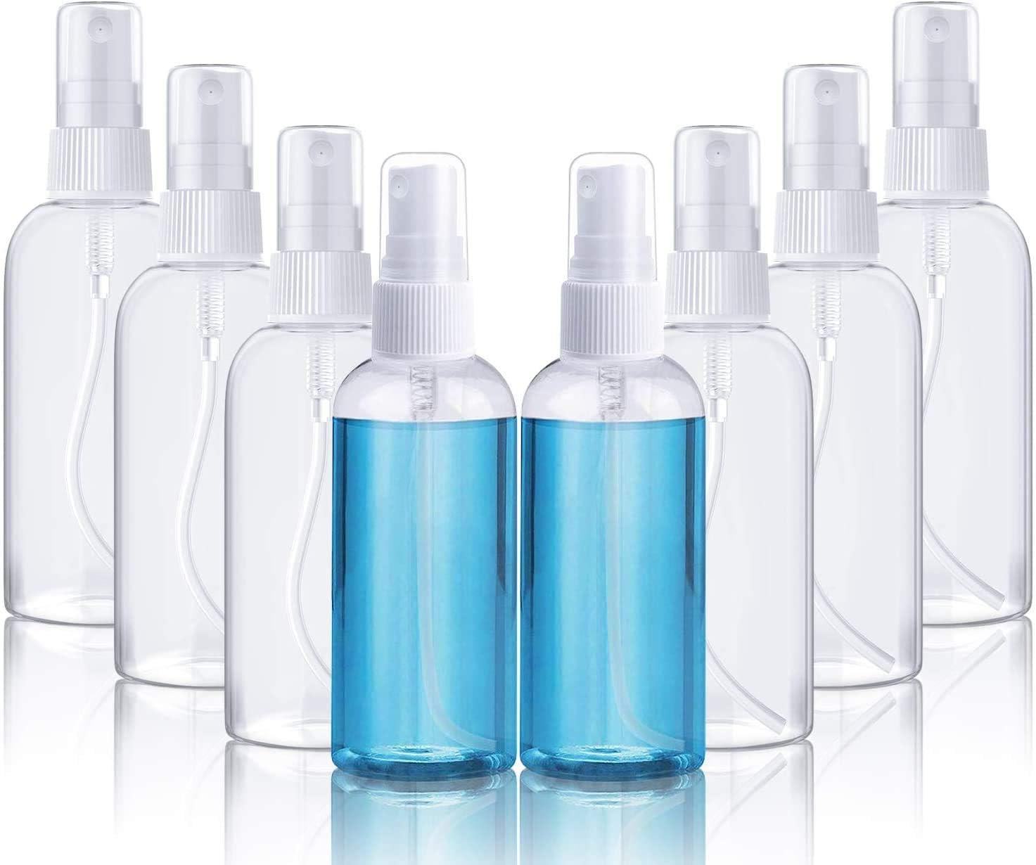8 * 100ml Fenvella Botes Viaje Transparente Plástico Botella Vacía de Spray, Bote Spray Pulverizador para Vacaciones, Viajes de Negocios, Maquillaje, Limpieza, 8 Piezas (100ML)