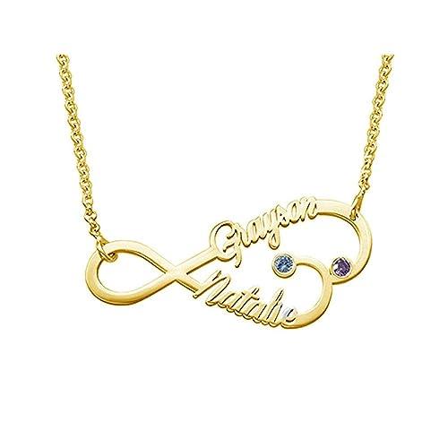 512b22ede96f Collar Plata Colgante con Nombre Infinito Personalizados Regalo para  Familia Cadena Más Extención  Amazon.es  Joyería