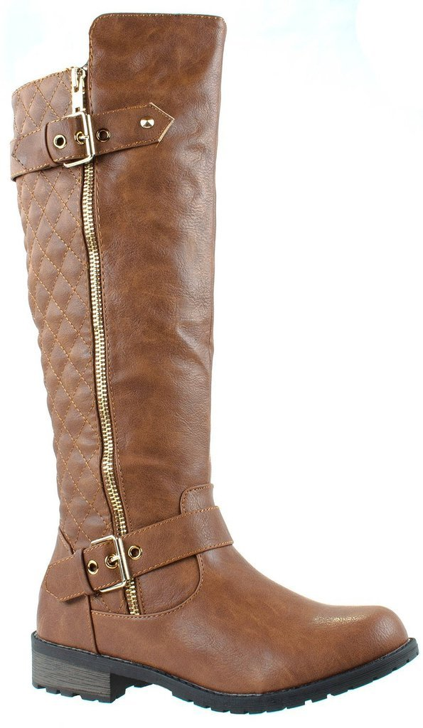 Forever Mango-21 Women's Winkle Back Shaft Side Zip Knee High Flat Riding Boots Tan 8