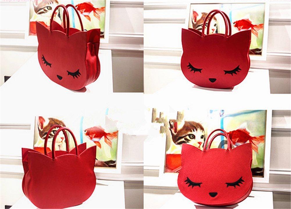 XMLiZhiGu Women's Girls Cute Animal Casual Tote Bag Cartoon Fashion Cat Handbag Red