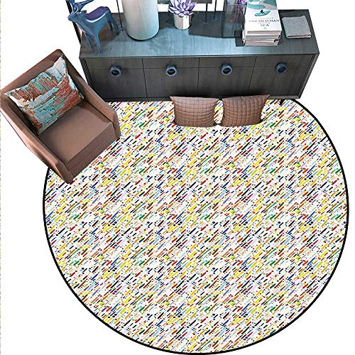 Abstract Round Area Rug Carpet Colorful Diagonal Stripes Traditional Polka Dots Surreal Illustration Grunge Theme Anti-Skid Area Rug (6'6