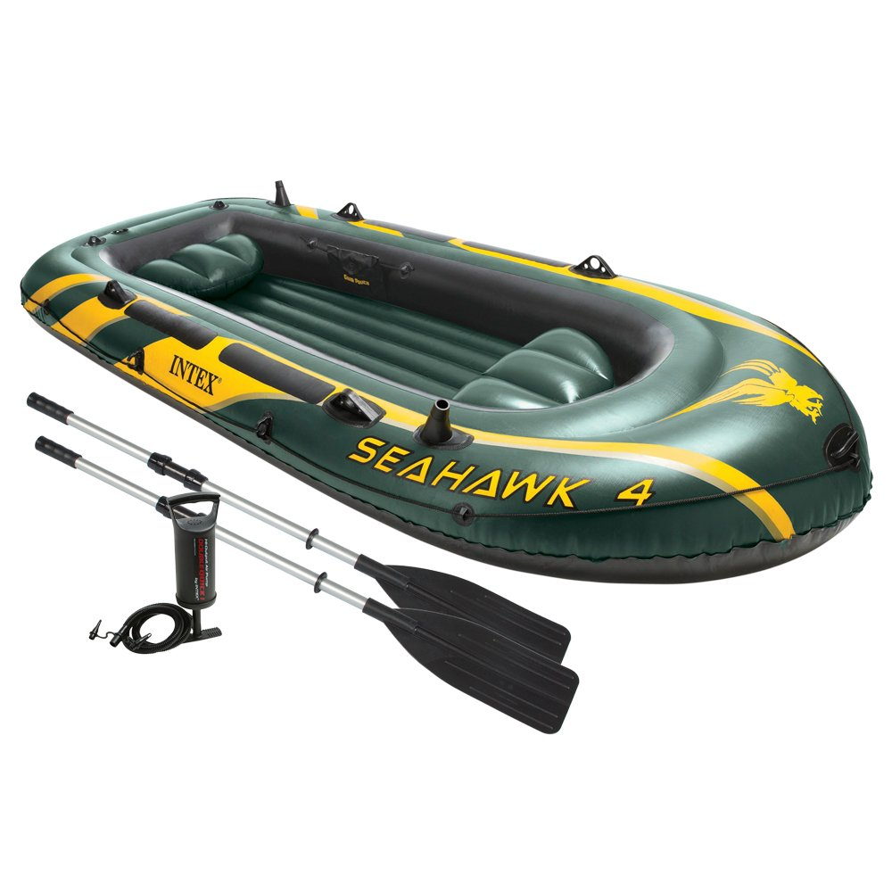 The 4-Person Inflatable Intex Seahawk Fishing Boat Set