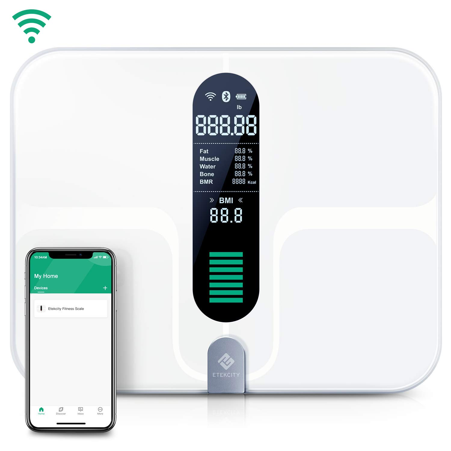 Etekcity WiFi Smart Scale, USB Rechargeable Bluetooth Body Fat Scale - Digital Bathroom Weight Scale with 12 Body Composition Measurements, Extra-Large Platform & ITO Conductive Glass, 400lb (180kg) by Etekcity