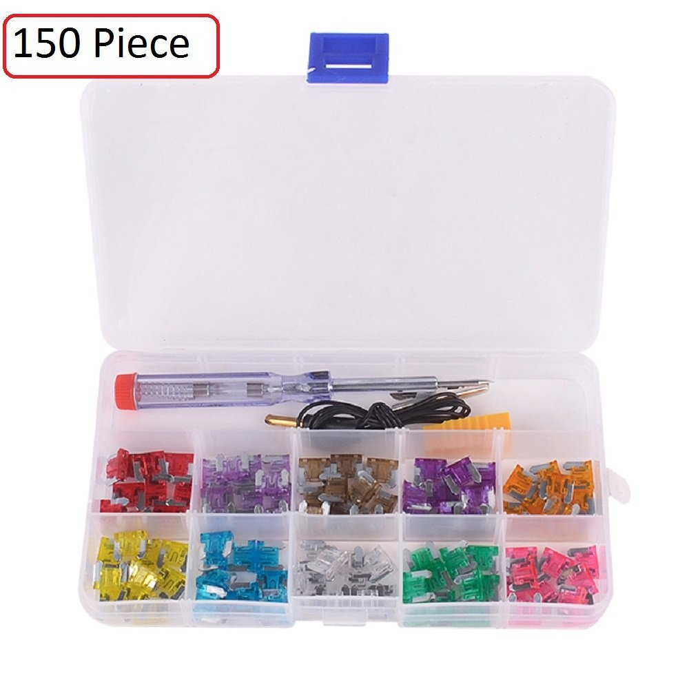 Katzco 150 Piece - Mini and Regular/ATM ATC Car Fuse Kit - Auto Blade Fuse Assortment - Color Coded for Different Amps - 147 Fuses, Alligator Clip, Electric Tester, Tweezer Fuse Puller