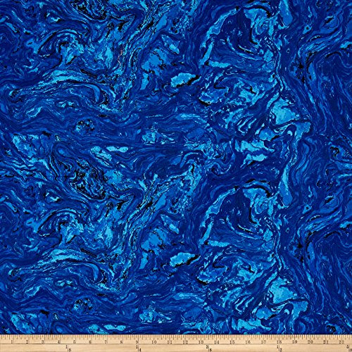 Dark Quilt Blue Fabric (Fabri-Quilt Marblehead Valor Italian Marble Fabric by The Yard, Dark Blue)