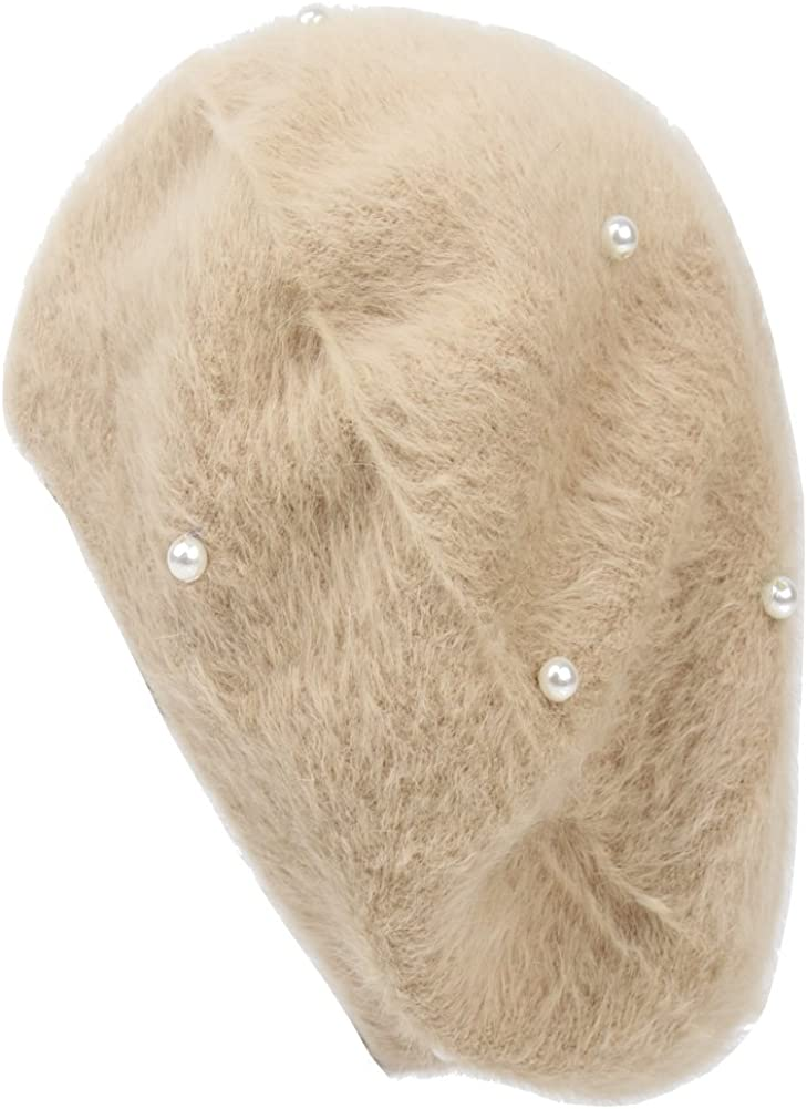 Lisainthus Womens Soft Angora Pearl French Beret Hat