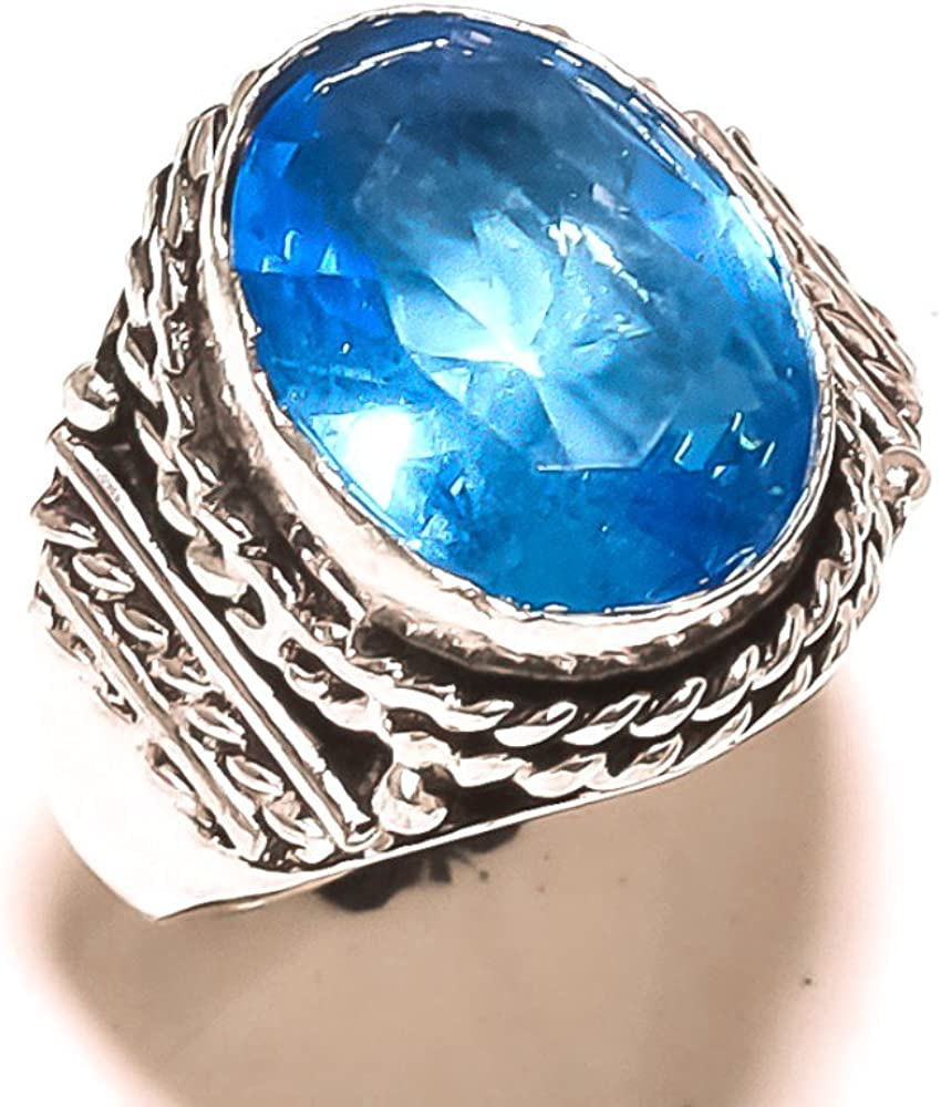 Handmade Jewelry Gift Jewelry Blue Topaz Quartz Sterling Silver Overlay 8 Grams Ring Size 8 US