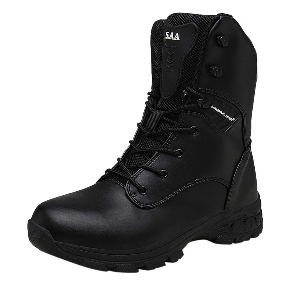 Men's Tactical Military Boots Combat Military Tactical Mid-Ankle Boots Outdoor Work Hunting Hiking Boots (US:12, Black) by Yihaojia Men Shoes