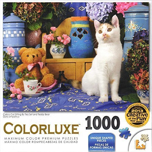 Colorluxe 1000 Piece Puzzle - Calico Cat Sitting By Tea Set and Teddy Bear By Jean-Michel Sotto