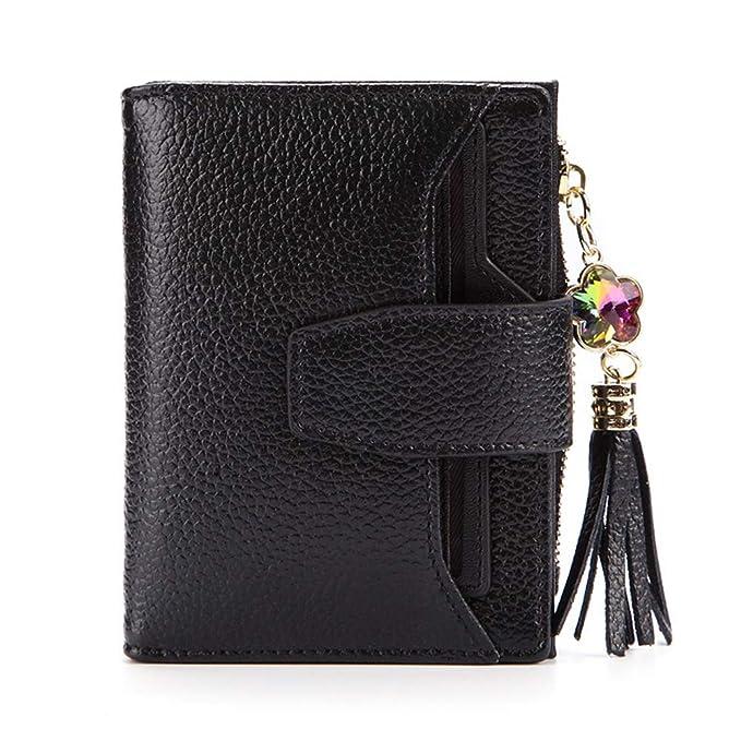 e0d54c1b5a14 Waketree Women's RFID Mini Soft Leather Bifold Wallet With ID Window ...