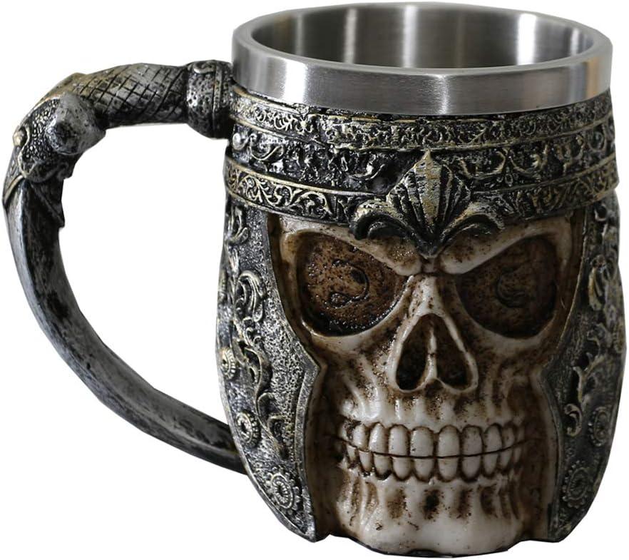 Otartu 13oz Skull Coffee Mug Viking Skull Beer Mugs Stainless Steel Liner Gift for Men Father's Day Gifts
