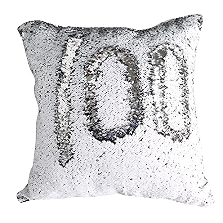 TRLYC 12x24 Black and White Throw Pillow Insert not Included Two-color Paillette Reversible Sequin Mermaid Pillow Cases Rectangle Reversible Sequins Pillow Decorative Cushion