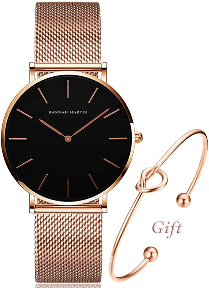 Women's Rose Gold Watch Analog Quartz Stainless Steel Mesh Band Casual Fashion Ladies Wrist Watches with Bracelet