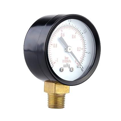 UEETEK Manómetro de Presión Vacuometro para Compresor de Aaire Gas ...