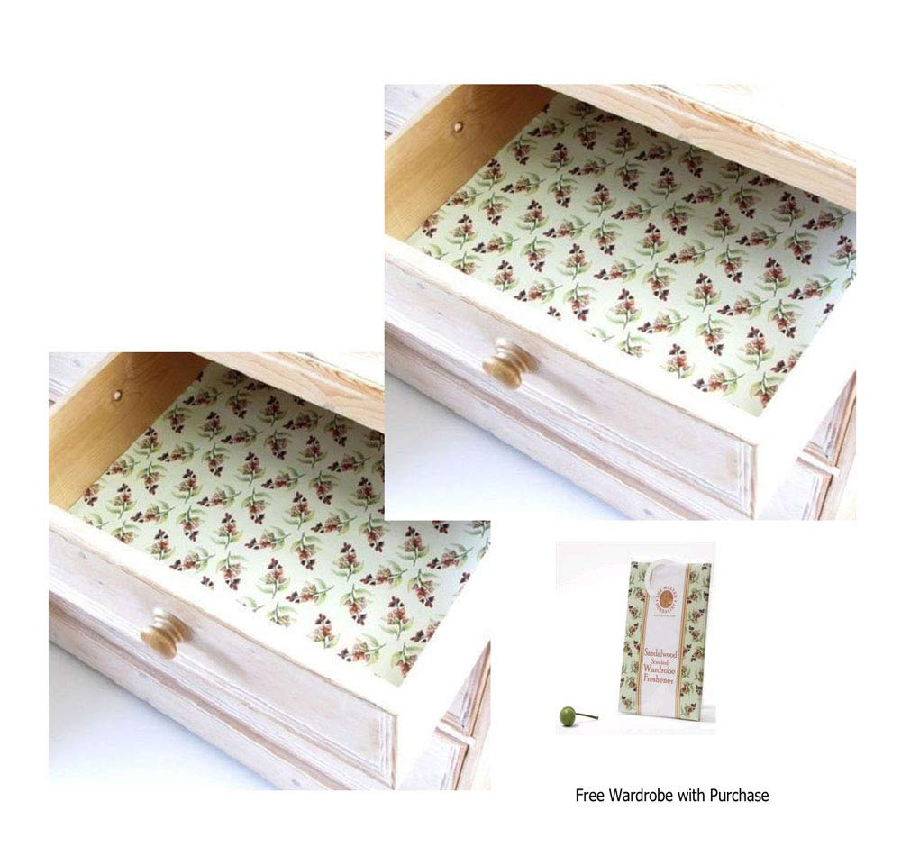 Sandalwood Scented Drawer Liners 2 Pack with Free Wardrobe Hanger by The Master Herbalist Sandalwood Liner
