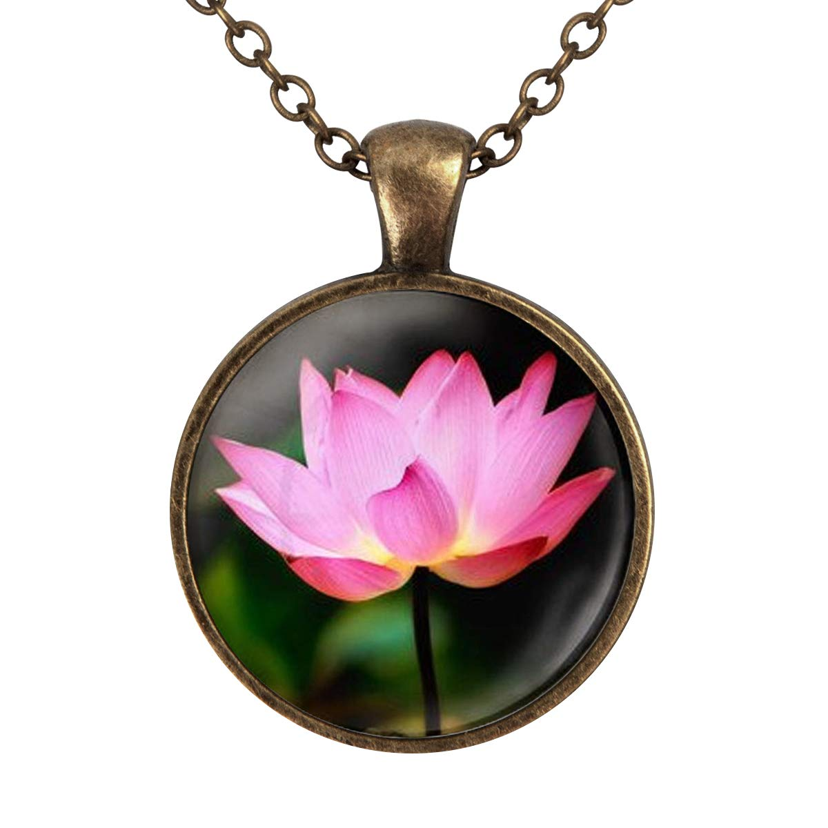 Lightrain Pink Lotus Art Pendant Necklace Vintage Bronze Chain Statement Necklace Handmade Jewelry Gifts