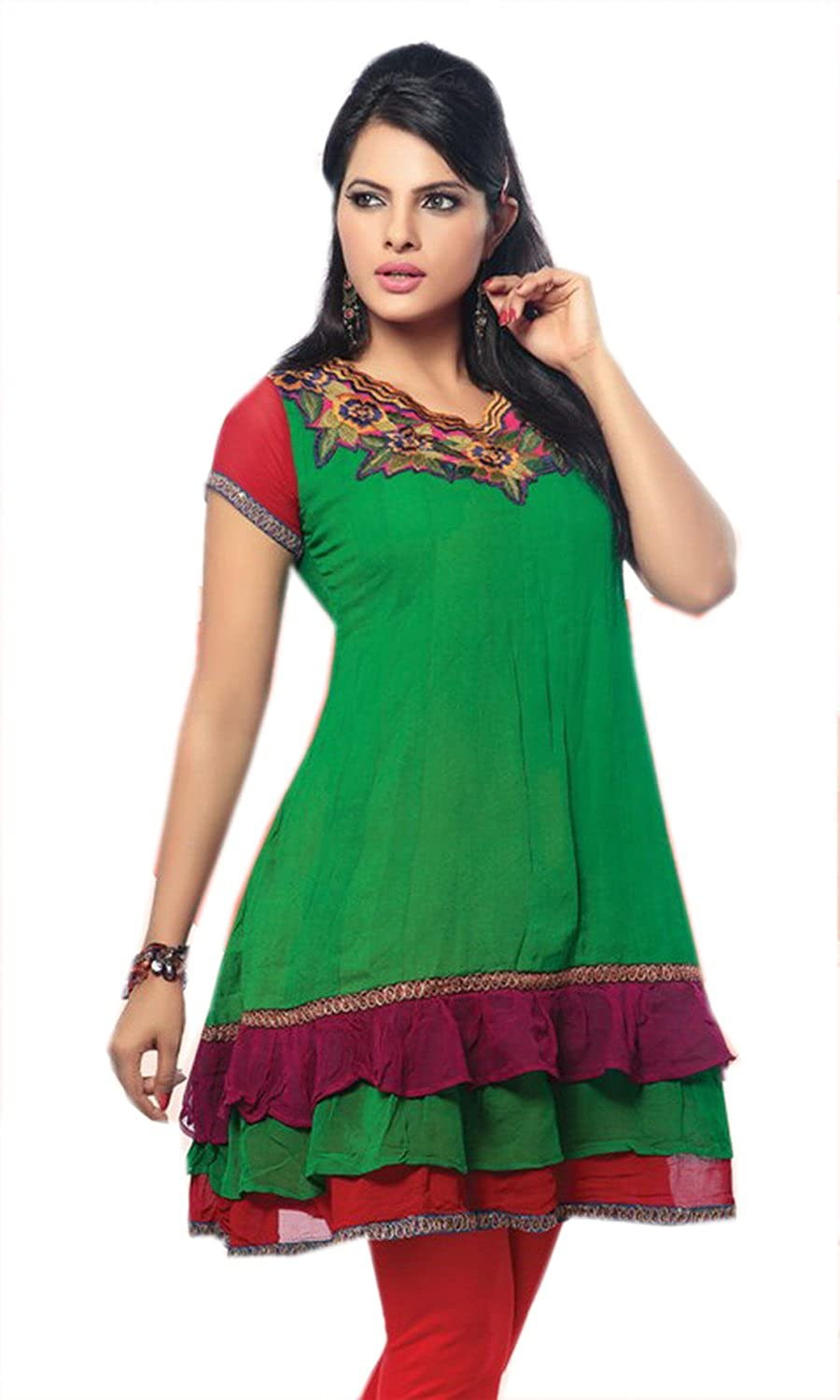 Green Georgette Multi Color Embroidered Short Sleeve Dress