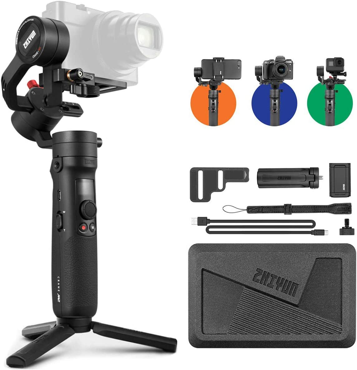 Zhiyun Crane M2 Crane-M2 Gimbal [Official Dealer], 3 Axis Handheld Gimbal for Mirrorless Cameras/Smartphone/Action Cameras for Sony A6000/A6300/A6400/A6500/Canon M6/G7 X Mark II, for GoPro Hero 7/6/5