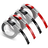 4x Compatible Dymo Ruban de Marquage 3D 9 mm x 3 m, Noir et Rouge, pour etiqueteuse Dymo Junior et Dymo Omega