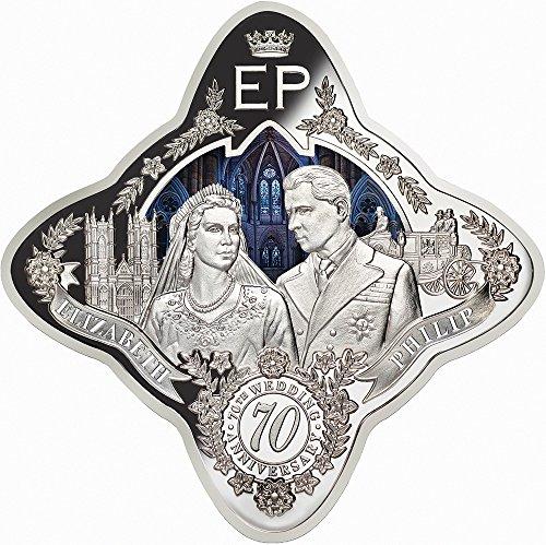 2017 TK Royal Star QUEEN ELIZABETH II AND PRINCE PHILIP 70th Wedding Anniversary 1 Oz Silver Coin 1$ Tokelau 2017 Proof