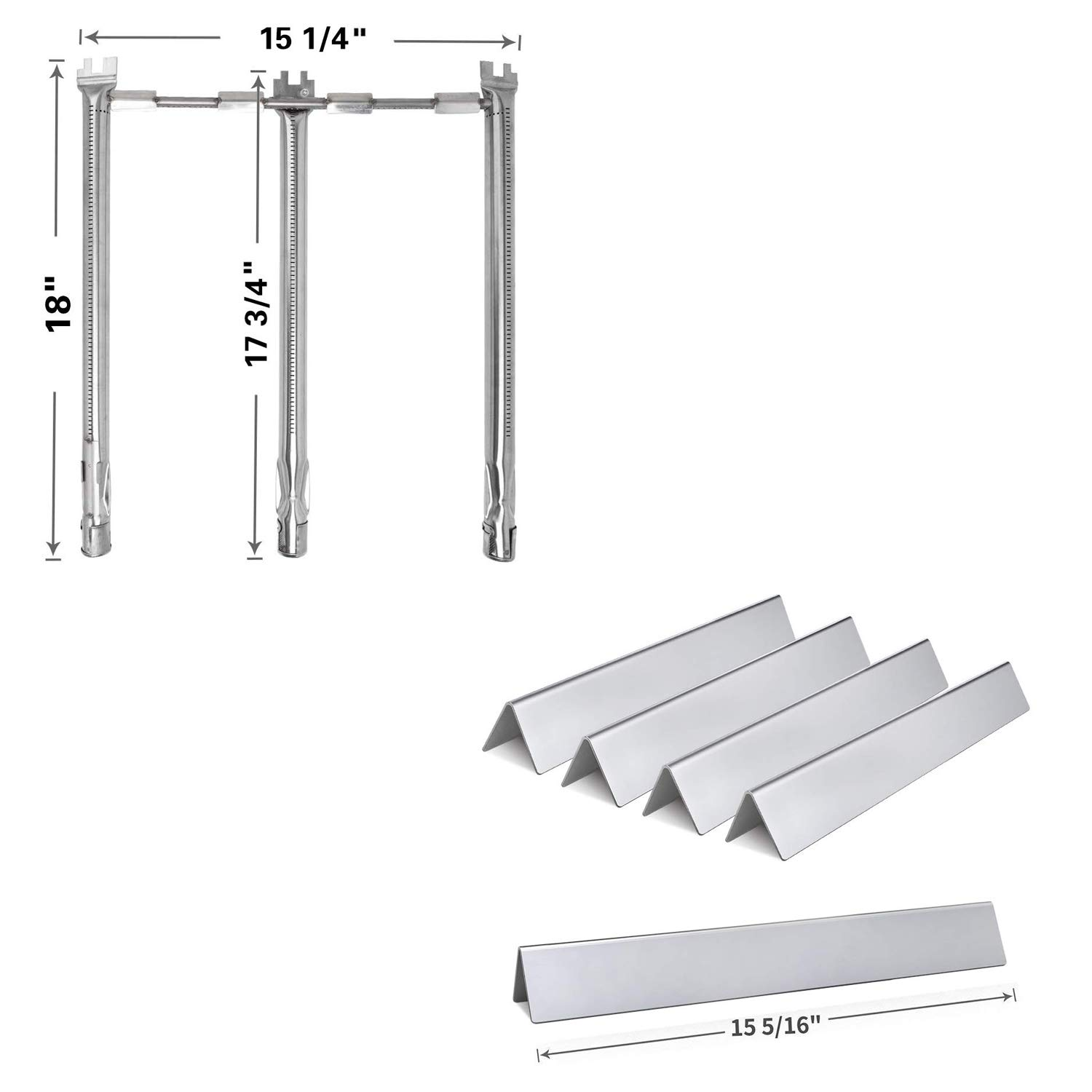 Htanch SG636 (5-Pack) SF9787 for Weber Spirit E310, E320, S310 and S320 (2013-2017) Stainless Steel 5 Flavorizer Bars and One Tube Burner by Htanch