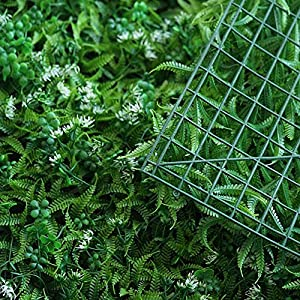 BalsaCircle 4 pcs Green Artificial Fern Leaves with White Mini Flowers UV Protected Wall Backdrop Panels Wedding Party Decorations Decorations Supplies 5