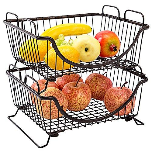 Metal Wire Stacking Organizer Baskets, Multipurpose Storage Racks, Set of 2, Brown