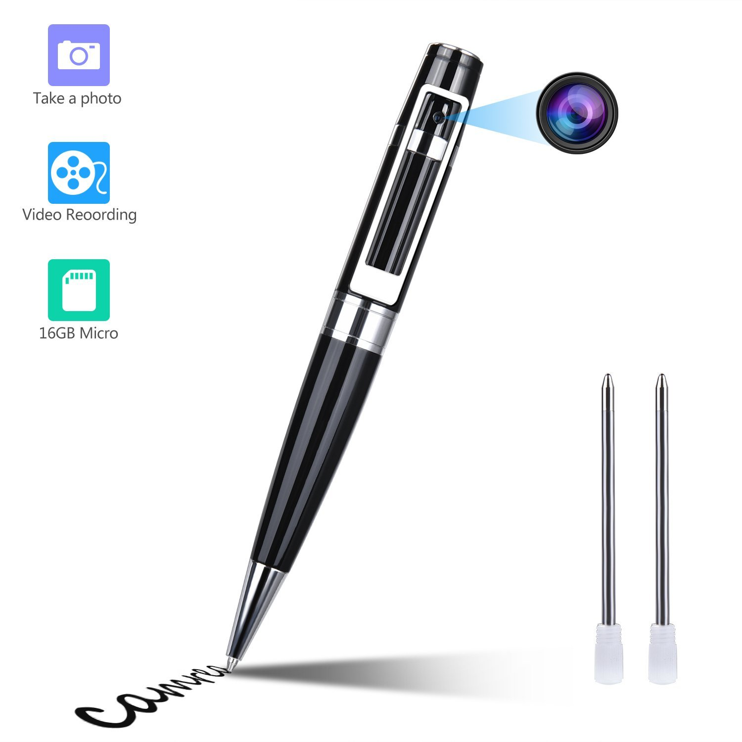 Spy Camera Pen Hidden Camera Meeting Video Recorder HD 1080P Mini Portable DVR Cam Built-in 16GB Micro SD Card + 2 Ink Fills by GooSpy (Image #1)